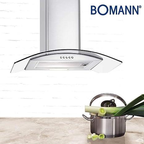 Bomann DU 7601 G - Campana extractora (cristal, 60 cm de ancho, acero inoxidable): Amazon.es: Grandes electrodomésticos