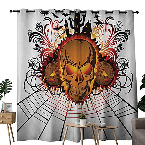 NUOMANAN Window Curtain Fabric Halloween,Angry Skull Face on Bonfire Spirits of Other World Concept Bats Spider Web Design,Multicolor,Rod Pocket Curtain Panels for Bedroom & Living Room 52