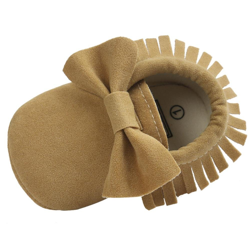 Voberry Baby Boys Girls Tassel Bow Soft Sole PU Leather Loafers Moccasin Sneakers