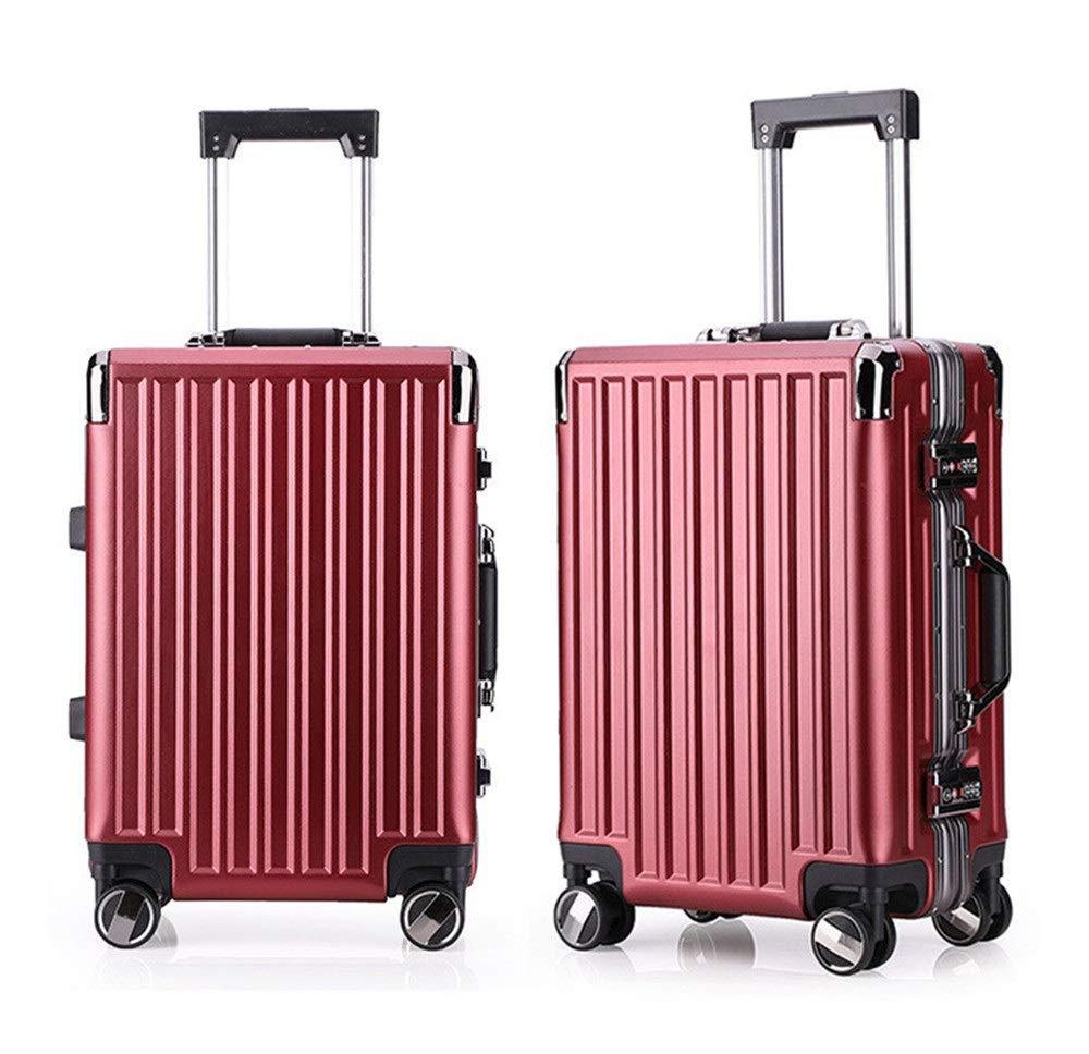 大容量スーツケース 20インチ24インチ荷物スーツケース用男性と女性スピナー旅行荷物トロリーケース2ピースネストセットハードシェル軽量キャリーオンアップライトスーツケース360°サイレントスピナー多方向ホイールスーツケース 軽量かつ低騒音 (色 : Wine, サイズ : 20in+24in) B07R9TVHDC Wine 20in+24in