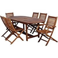 Milano Eucalyptus Oval Extendable 7-Piece Patio Dining Set