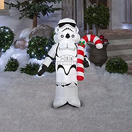 Gemmy Industries Star Wars Stormtrooper Holding Can Christmas Inflatable White Black Fabric 42
