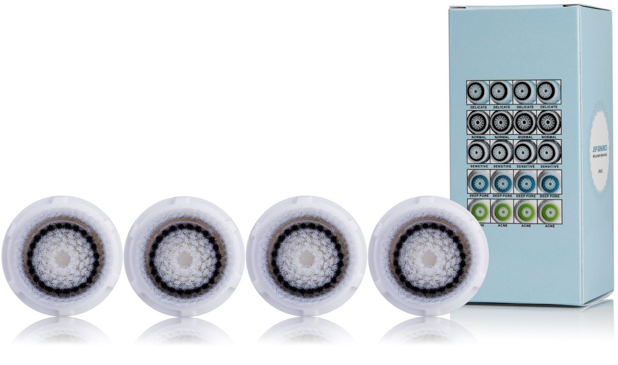Compatible Brush Heads Replacement for Deep Pore, Sensitive, Normal, Acne, Twink Pack or 4pack.. for Facial Use, Compatible with Mia, Mia 2, Aria. Soft and Quality Hair Fibers .Satisfaction Guranteed JLP TM