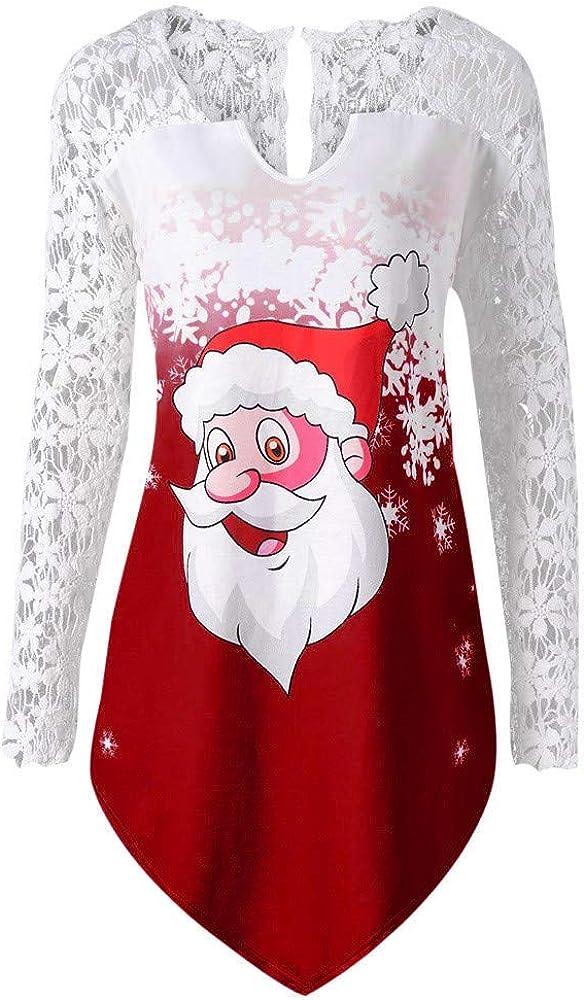 Dunacifa Christmas Tunic Tops Women Lace Panel Long Sleeve Santa Claus Print T-Shirt Pullover Blouse