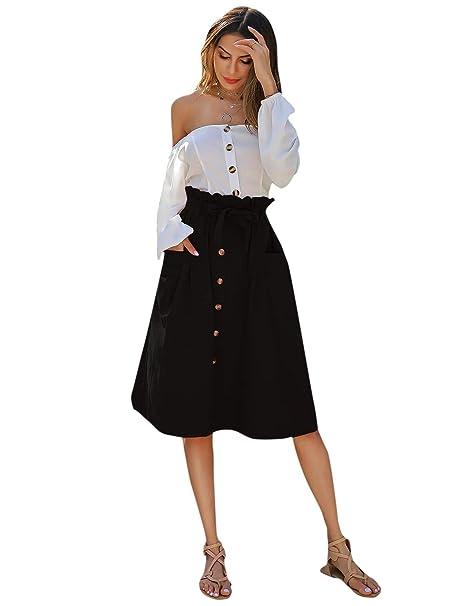 SOLY HUX - Falda para Mujer, Cintura Alta, hasta la Rodilla, con ...