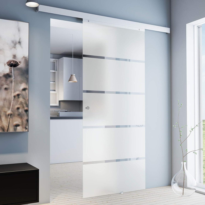 inova Glas-Schiebet/ür beidseitiger Soft Close 755x2035 mm Blockstreifen Design Set mit Lauf-Schiene und Griffknopf Glast/ür