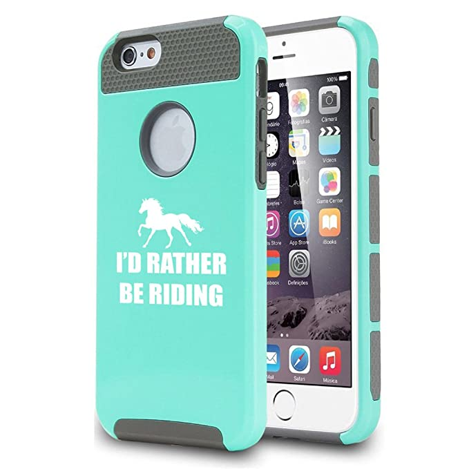 for Apple iPhone 7 / iPhone 8 Shockproof Impact Hard Soft Case Cover Id Rather Be Riding Horse (Teal)
