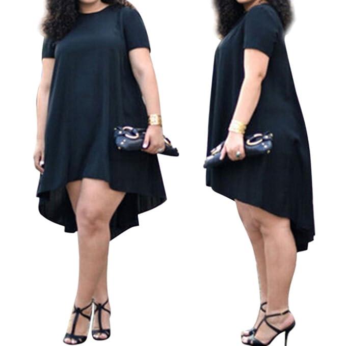 Goodid vestido de talla grande irregular delante largo detrás corto con mangas cortas-Negro (