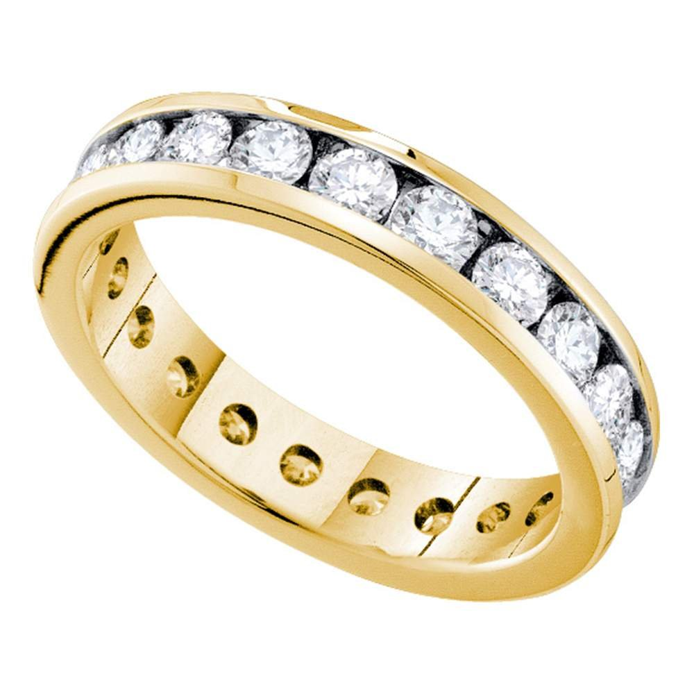14kt Yellow Gold Womens Round Channel-set Diamond Eternity Wedding Band 2.00 Cttw
