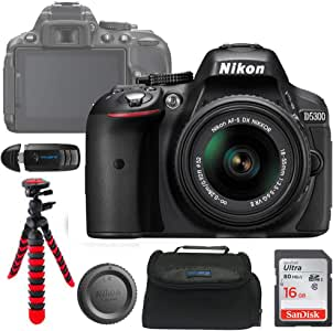 Nikon D5300 DSLR Camera with 18-55mm Lens + Pixi Basic Accessory Bundle