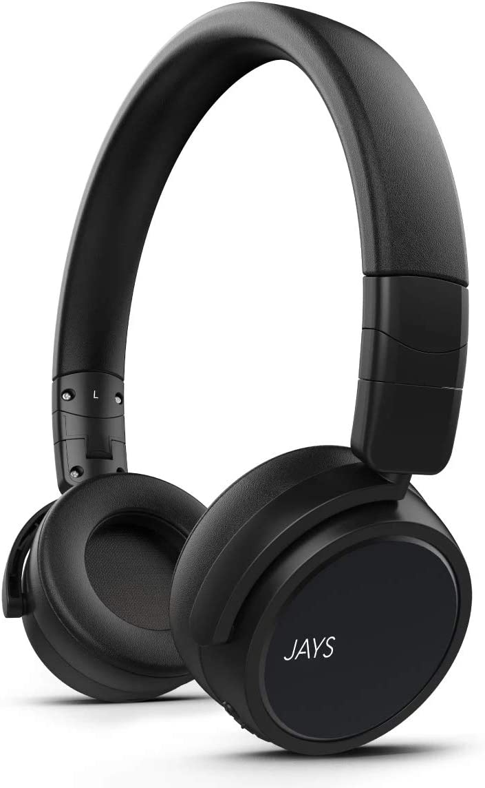 JAYS x-Five On-Ear Wireless Headphones, 20-Hour Battery Life (Black)