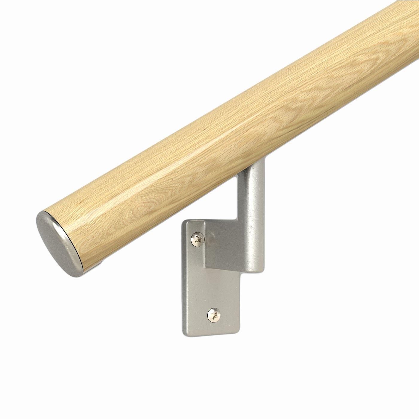 5 ft. Handrail - Complete Kit. Genuine Red Oak Bonded to Aluminum Core, 3 Matte Nickel Brackets + Flush Endcaps, 1.6'' Round by PROMENAID