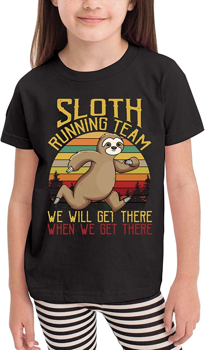 Onlybabycare Sloth Running Team Black Cotton T Shirt Lightweight Breathable Solid Tee for Toddler Boys Girls Kids