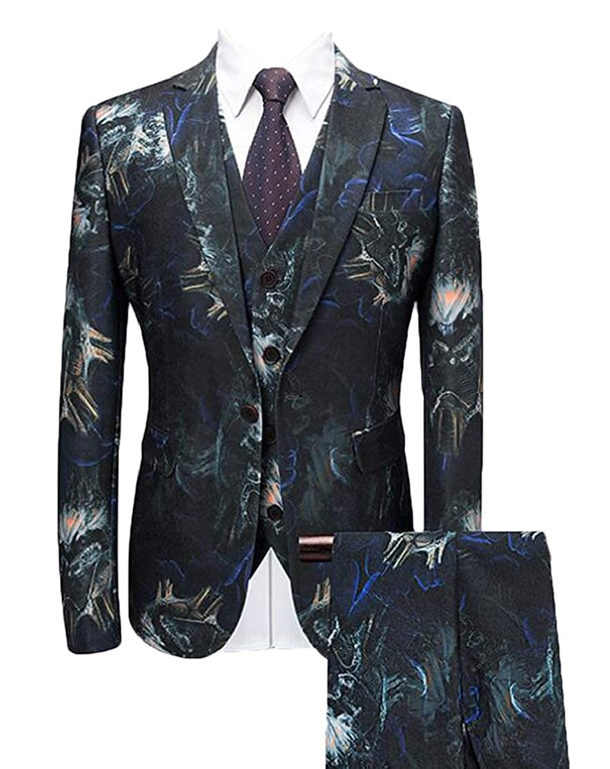 KLJR Men Over Size 3 Pieces Groomsmen Wedding Suit Jackets+Vest+Trousers Outfits