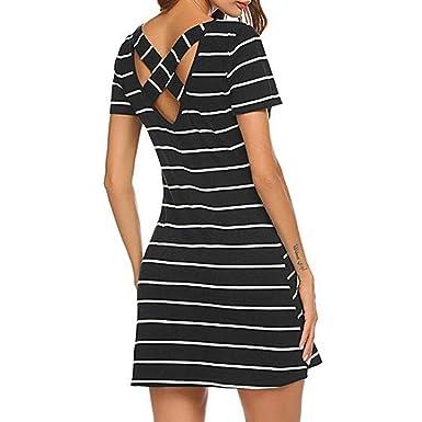 b9f86f7baf84 Easytoy Women's Casual Striped Criss Cross Short Sleeve T Shirt Mini Dress  with Pockets Large Green