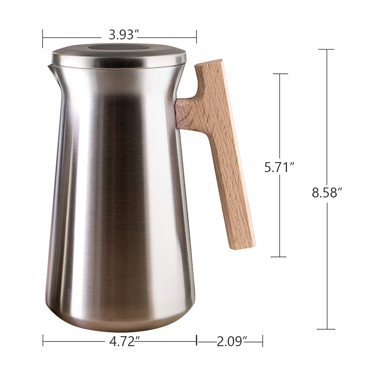 SDREAM Coffee Carafe Thermal For Kettle Stainless Steel 34 Oz Double Walled Vacuum Insulation Hot Beverage or Tea, Sliver, 34 oz by SDREAM (Image #6)