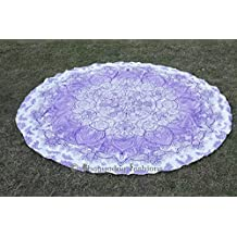Bhagyoday Fashions- Indian Ombre Tapestry Mandala Decor Roundie, Hippie Gypsy Cotton Table Cloth, Picnic Beach Blanket, Yoga Mat Towel, Circle Mandala Beach Towel 70""