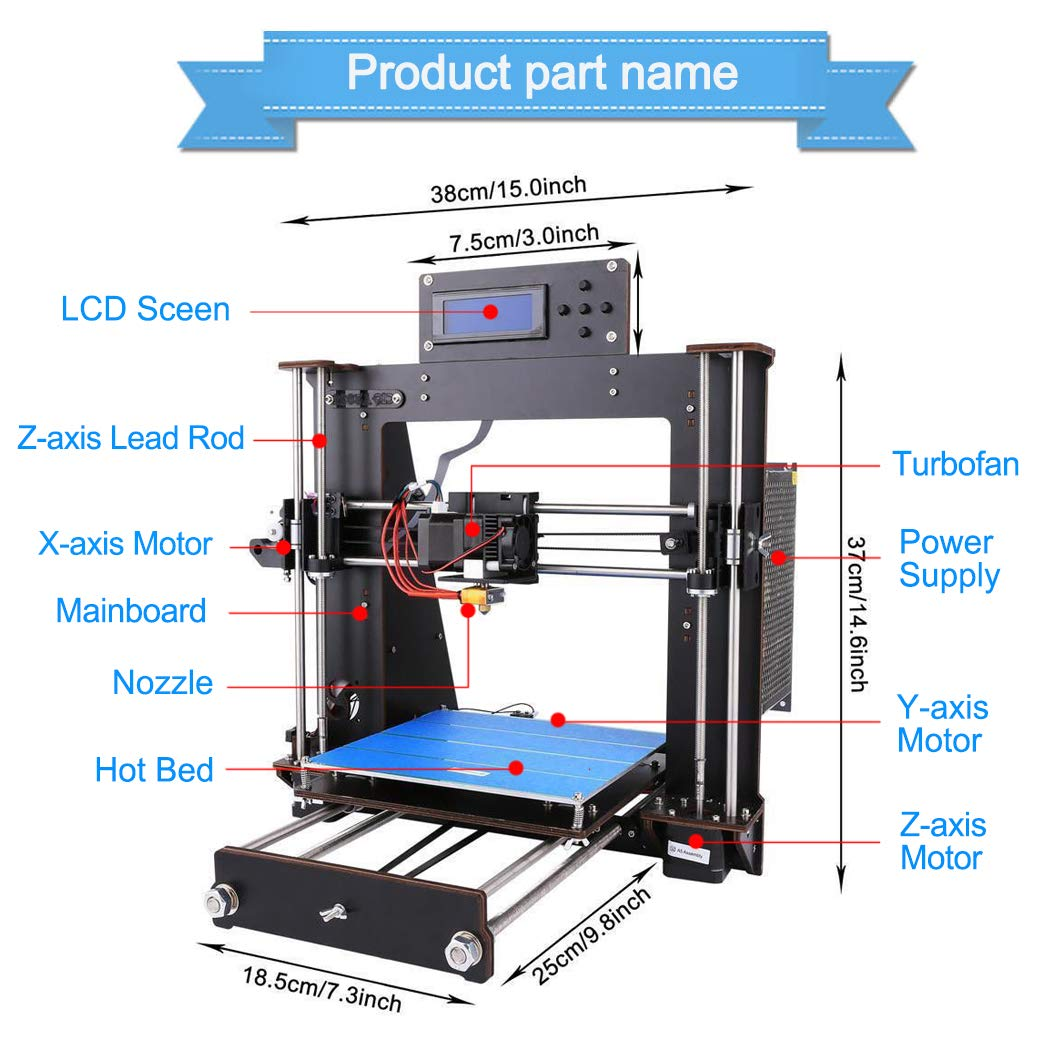 3D Printer I3 High Precision Large Size Desktop 3D Printer Kit Reprap Prusa I3 DIY Self-Assembly LCD Screen PLA/ABS Filament 1.75MM DIY 3D Printer ...
