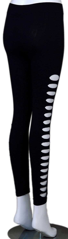 7fd28bec1ce09 Amazon.com: U-Shark Women's Candy Color Holes Tights Capri Leggings Pants  for Yoga Running Fitness Sports (Black Side Holes): Clothing
