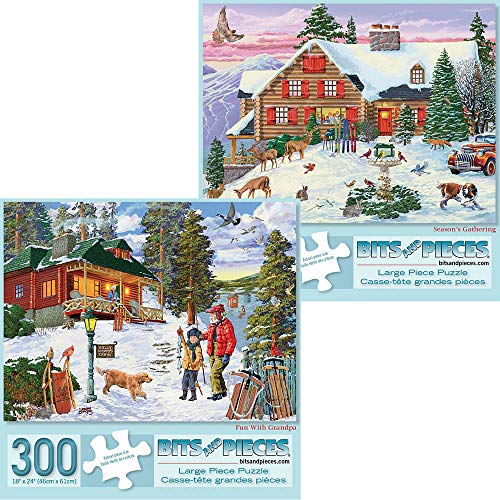Seasons Puzzle Set - Bits and Pieces - Value Set of Two (2) 300 Piece Jigsaw Puzzles for Adults - Each Puzzle Measures 18