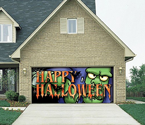 Victory Corps Outdoor Halloween Holiday Garage Door Banner Cover Mural Décoration 7'x16' - Big Frank Outdoor Halloween Holiday Garage Door Banner Décor Sign 7'x16'