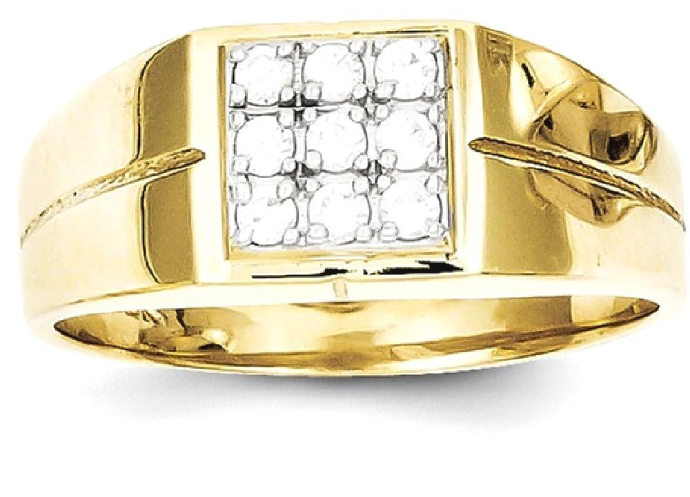 ICE CARATS 10k Yellow Gold Mens Cubic Zirconia Cz Band Ring Size 11.00 Man Fine Jewelry Dad Mens Gift Set