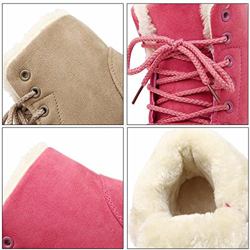 Stivali Da Neve Donna Inverno Caldo Faux In Pelle Scamosciata Con Lacci E Plateau Rosso Vino