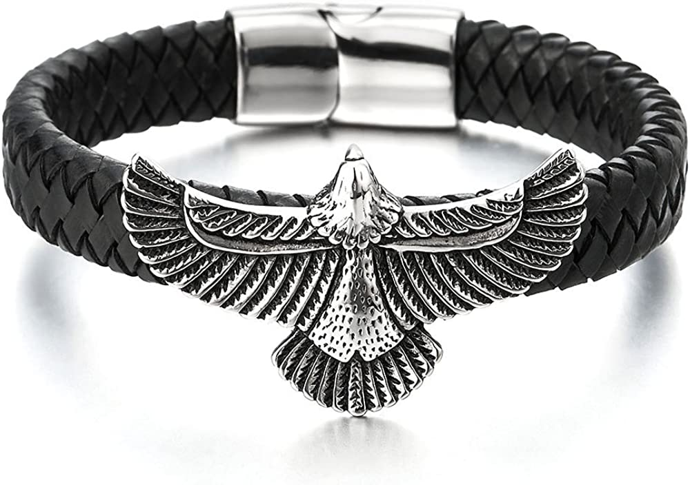 COOLSTEELANDBEYOND Rock Punk Stainless Steel Flying Eagle Bangle Bracelet Black Braided Leather Wristband for Men
