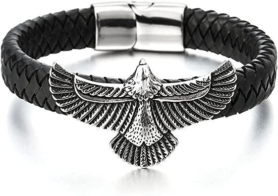 Noir V/éritable Cuir COOLSTEELANDBEYOND Rock Punk Acier Inoxydable Volant Aigle Bracelet en Cuir Tress/é Homme