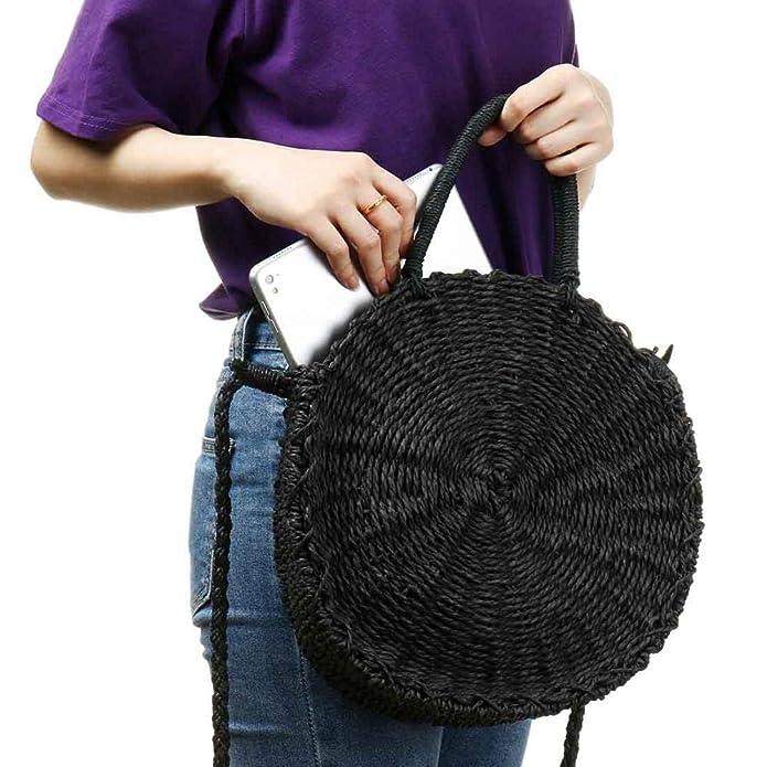 Amazon.com: Bolso redondo de mimbre para mujer, tejido a ...