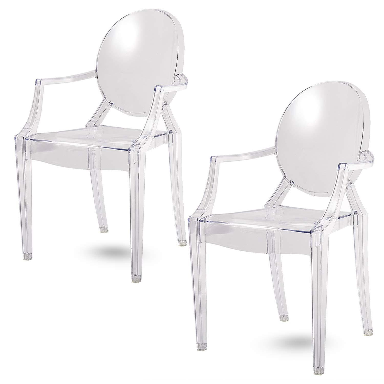 Damiware Spirit trasparente Ghost sedia per sala da pranzo, poltrona design moderno stile Louis Kartell Philippe Starck, set di 2 sedie (KRISTAL)