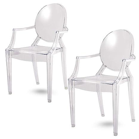 Damiware Spirit trasparente Ghost sedia per sala da pranzo, poltrona ...