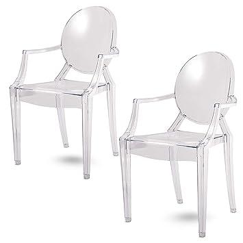 Damiware Spirit Eszzimmerstühle 2er Set | Design Stuhl Mit Armlehnen |  Transparent Hochwertig Verarbeitung   Komfortables