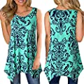 Woaills Women's Tunic Blouse, Irregular Printed Sleeveless Asymmetrical Loose Tops