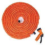 100FT Expandalble Garden Hose Water Pipe with 7 Modes Spray Gun (orange)