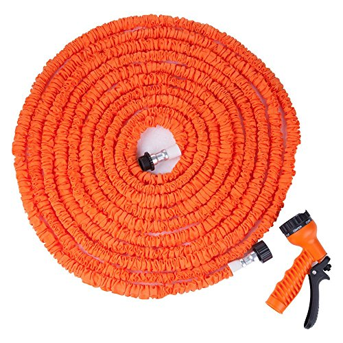 100FT Expandalble Garden Hose Water Pipe with 7 Modes Spray Gun (orange) by Yooyoo