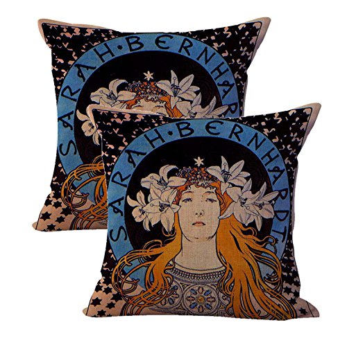 WholesaleSarong Set of 2 Alphonse Mucha Sarah Bernhardt Cushion Cover Cotton Throw Pillow Covers