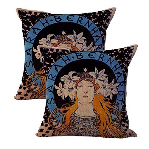 WholesaleSarong Set of 2 Alphonse Mucha Sarah Bernhardt Cushion Cover Cotton Throw Pillow - Bed Bernhardt Set