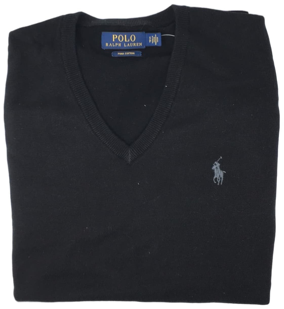 Polo Ralph Lauren Mens Pima Cotton V-Neck Sweater (Blackgrypny , XXL)