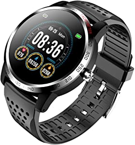 NiceFuse Smart Watch, Fitness Tracker with Heart Rate Monitor Blood Oxygen Saturation Meter Sleep Monitor, Waterproof Smartwatch Compatible with iPhone Samsung Android Phones (TPU Black MIH)