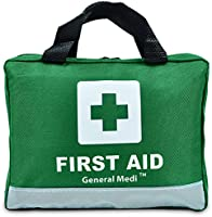 210 Piece First Aid Kit Emergency kit - Night Reflective Bag - Includes Eyewash, Bandage and Emergency Blanket for Travel, Home, Office, Car, Camping, Workplace (Green)