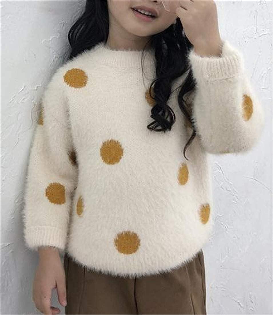 Hajotrawa Girls Loose Fit Polka Dot Print Jumper Plush Pullover Knit Sweater