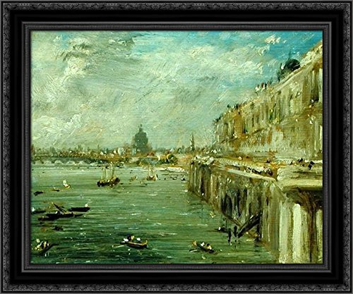 Somerset House Terrace and The Thames A View from The North End of Waterloo Bridge with St. Paul's Cathedral in The Distance 24x20 Black Ornate Wood Framed Canvas Art by John Constable