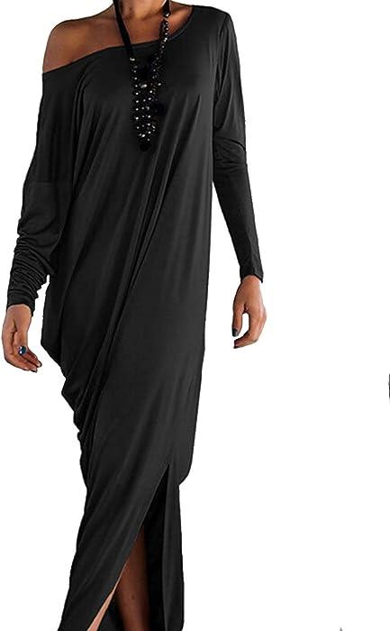 26375fb9c1b Women s Boho One Off Shoulder Caftan Sleeve Side Split Loose Harem Maxi  Dress S at Amazon Women s Clothing store