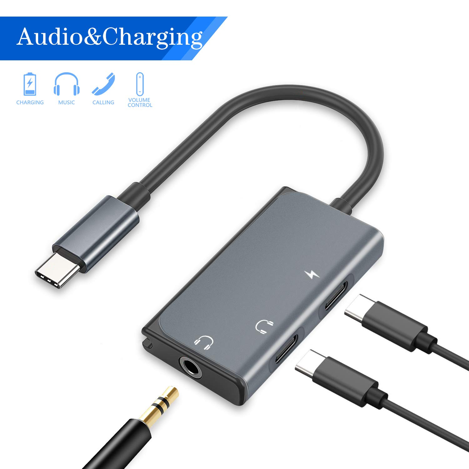 USB C to 3.5mm Audio Adapter, Mxcudu Upgraded 3 in 1 USB Type C Male to 3.5mm&USB C Headphone Jack Dongle and Charging Adapter Compatible with Google Pixel 4/4XL/3/3XL, Note 10/10+ and More (Grey)