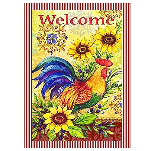 ALAZA Welcome Farm Rooster Chicken Sunflower Funny Double Sided Garden Yard Flag Mini Small 12