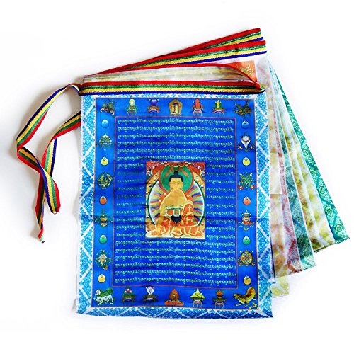(Tibetan Prayer Flags Outdoor Buddhist Meditation Flag 20pcs Satin Wind Horse Lungta Prayer Flags,11x14 inches)