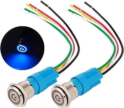 Interruttore a pulsante 1 PC di 12V 16mm Tasto a pulsante momentaneo impermeabile per auto ON OFF Interruttore clacson Silver.