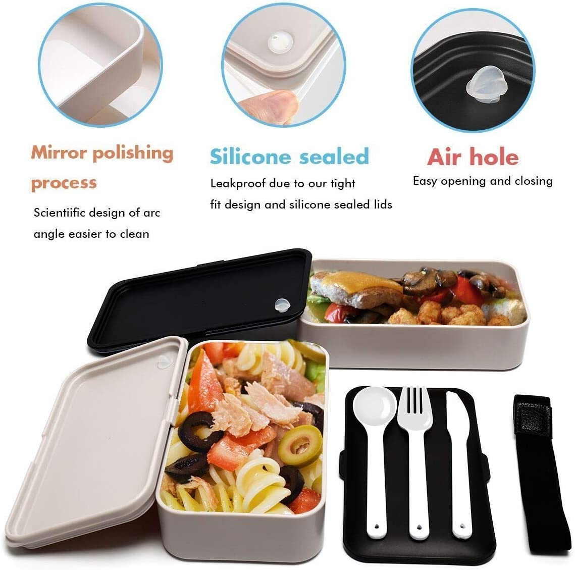 Portion Control Original Lunch Box with Free Lunch Bag Utensils Microwave and Dishwasher Safe Bento Box Leakproof Lunch Container Divider Black
