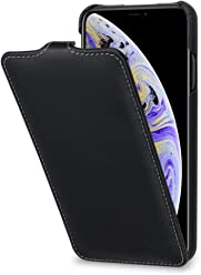 StilGut Custodia per Apple iPhone XS Maxflip Verticale in Pelle, Nero Nappa